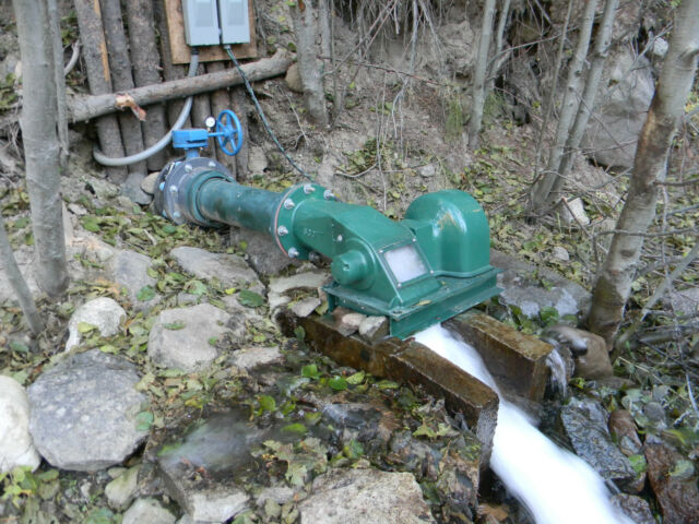 Water Powered Cross Flow Turbine Generator low head stream hydro electric pelton