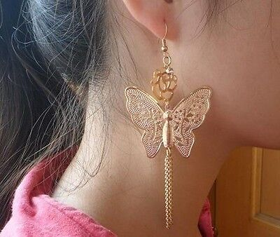 E1112 New Design Charm Fashion Gold butterfly Womens Dangle Hook Earrings