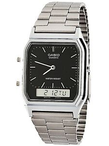 Casio-AQ230A-1D-Mens-Stainless-Steel-Analog-Digital-Watch-Dual-Time-Alarm-NEW