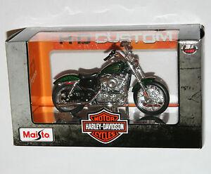 Maisto-Harley-Davidson-2012-XL-1200V-SEVENTY-TWO-Green-Model-Scale-1-18