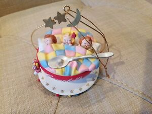 Campbell Soup kids Sleeping In A Bowl Christmas Ornament ...