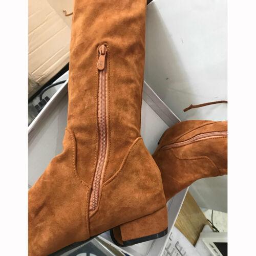 Women Winter Warm Over The Knee High Boots Suede Side Zipper Low Heels Shoes