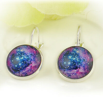 Wholesale Galaxy Milky Way Sky Pattern Time Gem Glass Cabochon Earring Purple