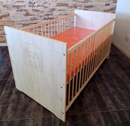 Babyzimmer Komplett Set 5 Farben Babybett 70 x 140  Umbaubar Matratze weiß rosa