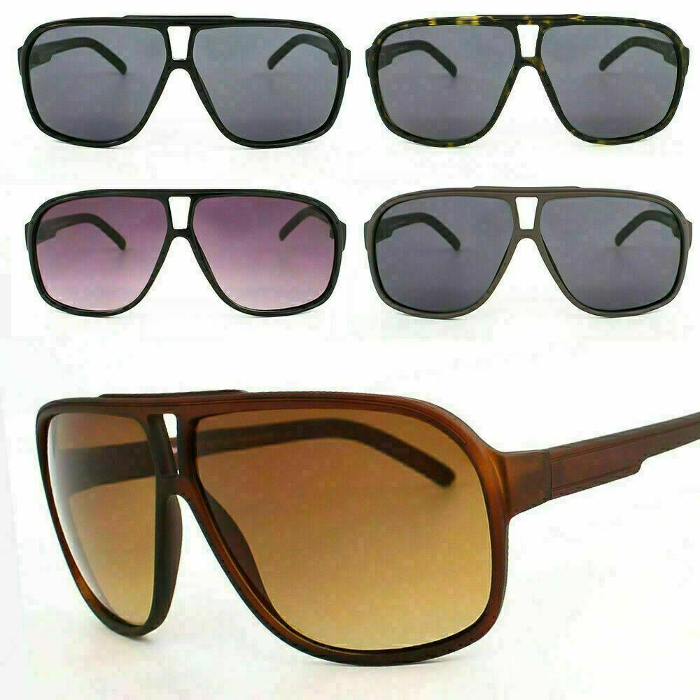Flat Top Square Pilot Oversized Plastic Frame 80's Retro Shield Sunglasses