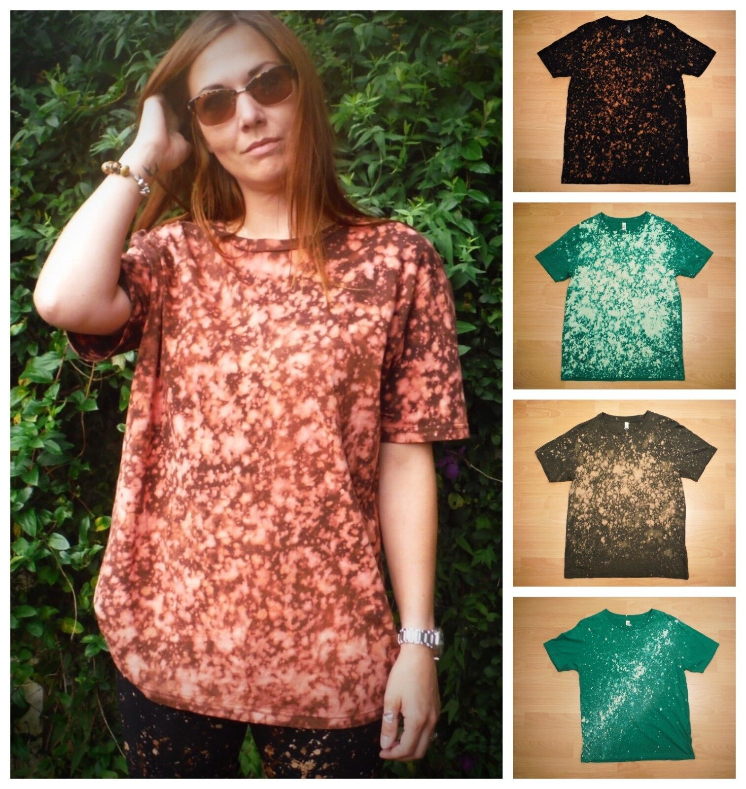 d05e5a42 Ethical Galaxy Splash Unisex T-Shirt Organic Cotton Hand Bleach Dyed Bare  Canvas