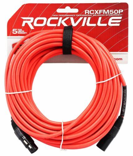 Rockville RCXFM50P-R Red 50/' Female to Male REAN XLR Mic//Speaker Cable