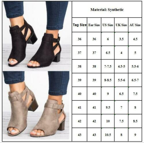 Womens Peep Toes Ankle Strap Boots Sandals Zipper Chunky Block Heels Work Shoes