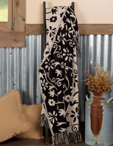 "Cordova Woven Jacquard Throw Creme/Black Floral Rustic Country Primitive 50""x60"""