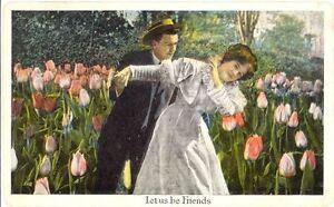 Antique-1917-Postcard-Let-Us-Be-Friends-Tulip-Garden-Lovers-Knobview-St-Louis-MO