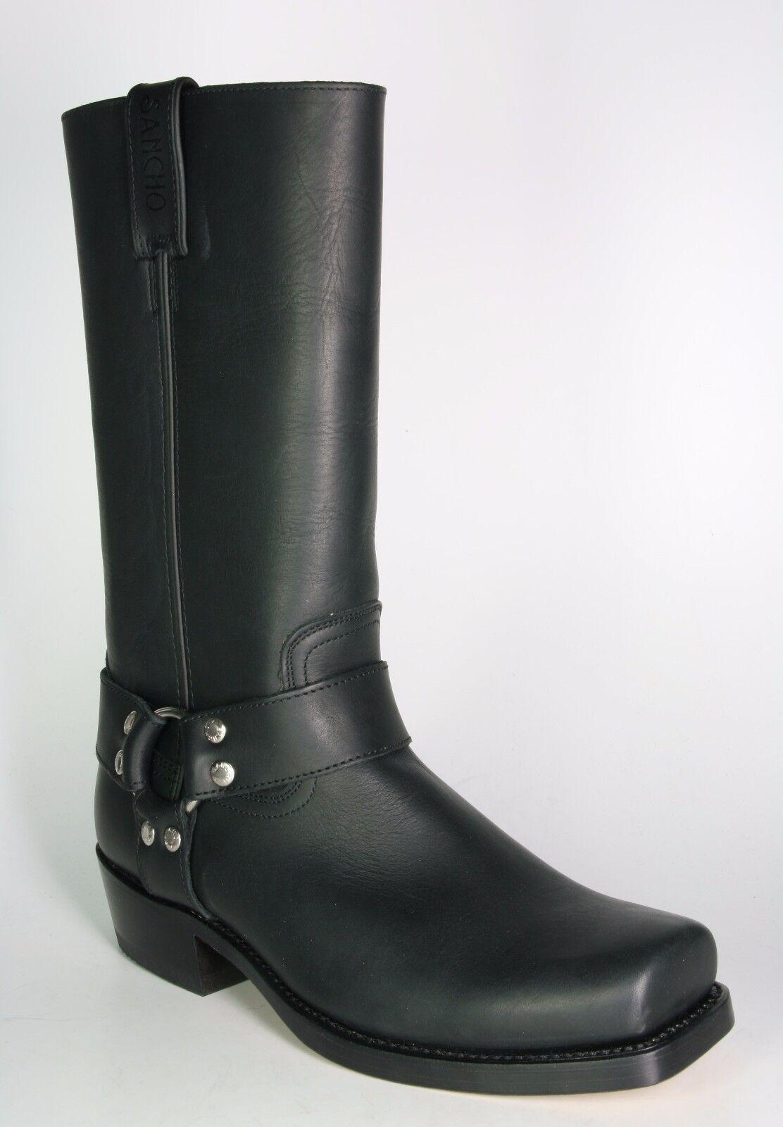 0541 Sancho BikerStiefel schwarz schwarz Rahmengenähte Stiefel Echt Leder