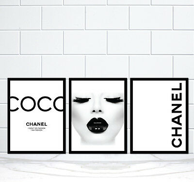 3 x COCO CHANEL LIPS Vintage Poster Prints Art A3 and other size - Unframed