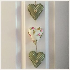 Super Details About Hand Made Fabric Set Of Three Shabby Chic Vertical Hanging Hearts Home Interior And Landscaping Ponolsignezvosmurscom