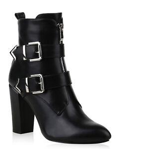 Details zu Klassische Damen Stiefeletten High Heel Boots Leder Optik Schuhe 825639 Trendy