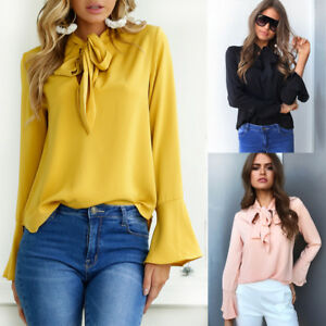 New-Fashion-Women-039-s-Ladies-Casual-Long-Sleeve-T-Shirt-Summer-Loose-Tops-Blouse