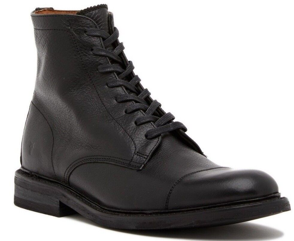 228 Frye Seth Lace-Up Men's Boot Cap Toe Leather Black Size 8.5 M