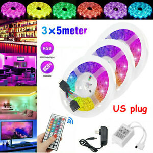 49FT Flexible Strip Light 3528 RGB LED SMD Fairy Lights Room Party Bar w// Remote