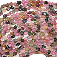"4-5mm multicolor tourmaline nugget beads 16"" strand"