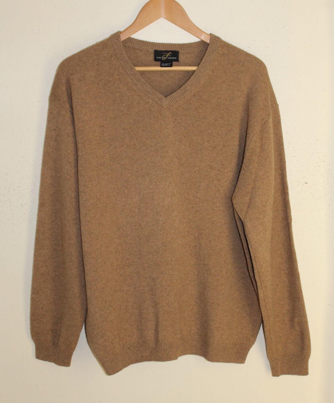 Men's PURE 2-Ply Plush Cashmere -Sz XL Camel Brown 100% Cashmere