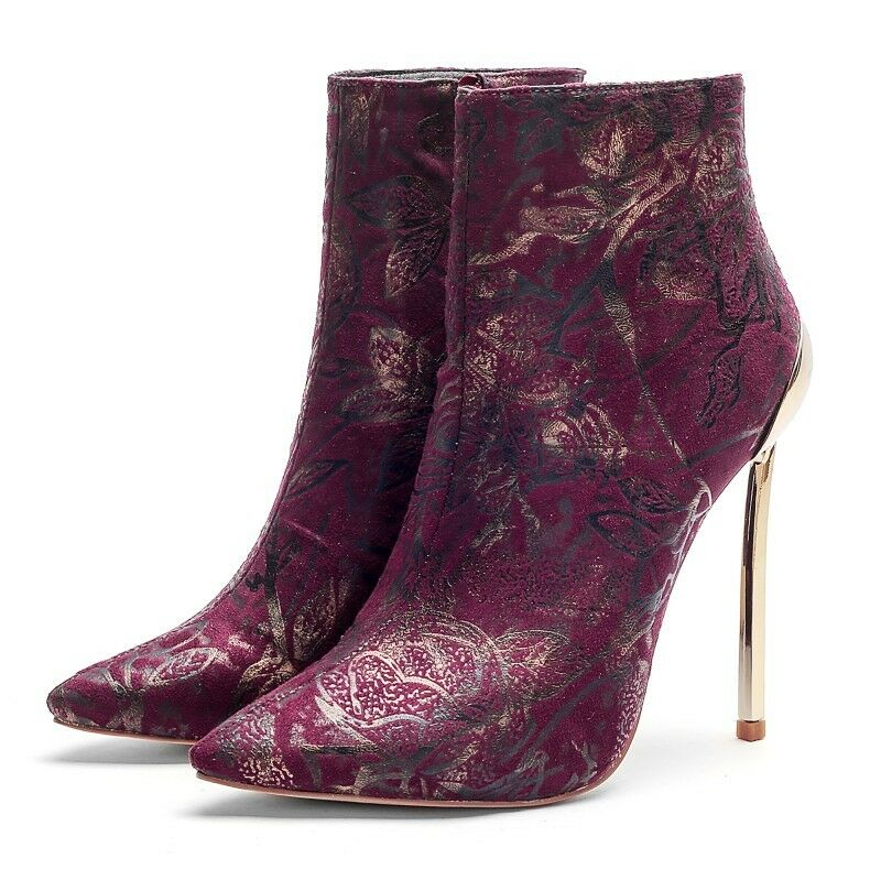 Womens Trendy Sexy Flowers Pointy Pointy Pointy Toe Slim High Heels Side Zip Ankle Boots Size 66152d