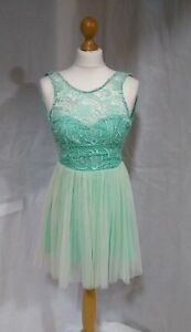 Lipsy-Mint-Green-Short-Lace-Dress-Night-Party-Evening-Club-Size-6-Xs