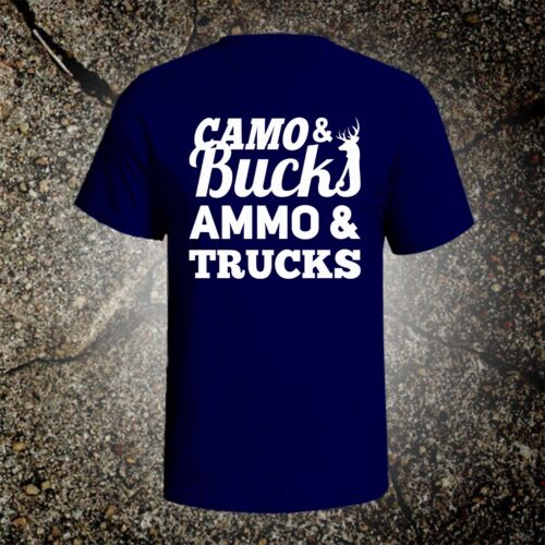 Camo Bucks Ammo Trucks hunting vintage style graphic t shirt tee browning