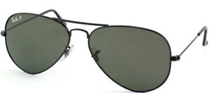 ae3a39242dd Ray-Ban RB3025 002 58 55mm Metal Aviator Black Green Polarized Sunglasses