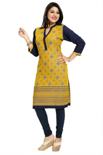 Women Indian 3//4 Sleeves Cotton Kurti Kurta Top Tunic Kurta Shirt Dress MM190