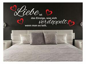 Details zu Wandtattoo Liebe ist verdoppelt teilt Sprüche Herz Schlafzimmer  Aufkleber #109