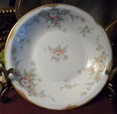 Theodore Haviland Limoges France~SOUP BOWL COUPE~Pink White Flowers Green Leaves