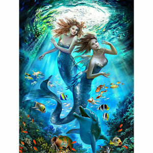 Details About Mermaid Sisters 5d Diy Diamond Painting Home Wall Decor Full Drill 30x40cm