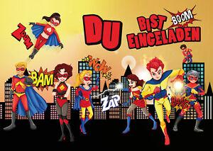 Das Bild Wird Geladen Coole Superhelden Einladungskarten Kindergeburtstag  Geburtstag Kinder