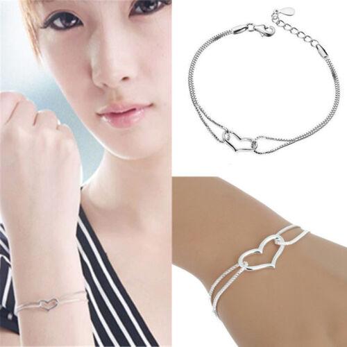 Armband 925 Silber vergoldet Herz Liebe Armband Kette CBRSZ8