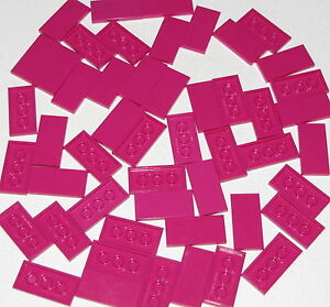 Lego-Lot-of-50-New-Magenta-Tiles-2-x-4-Flat-Smooth-Pieces-Parts