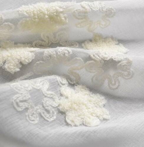 2 PCS American Country Embroidered Floral Cotton Linen White Sheer Curtain Panel