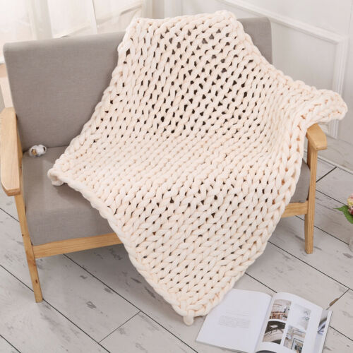 Large Warm Chunky Knit Blanket Thick Yarn Wool Bulky Knitted Throw