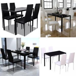 Detalles de 5 Piezas Conjunto de Comedor mesa Negro o Blanco y Negro Sillas  Muebles Cocina