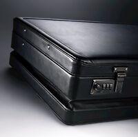 Mens Samsonite Expanding Leather Attache Case Briefcase Laptop Locks Man Bag Ne on sale