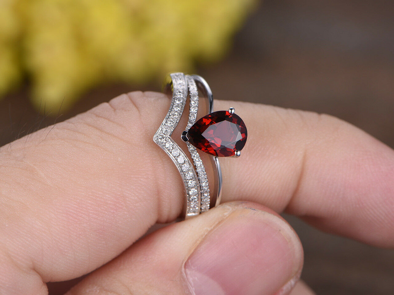 6x8mm Pear Garnet & Diamond 14k White gold Over Curved V Engagement Trio Ring