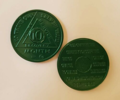 Steps to Recovery sobriety chips Aluminum AA Medallions AA Coins 10 Month