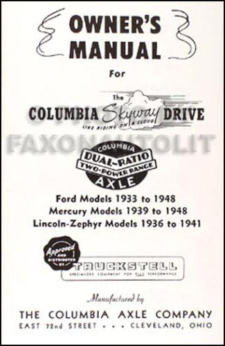 1933 1934 Ford Columbia Axle Manual set of 3 Installation and Owner and Decal