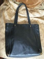 Perlina New York Black Pebbled Leather Tote Satchel Bag Handbag