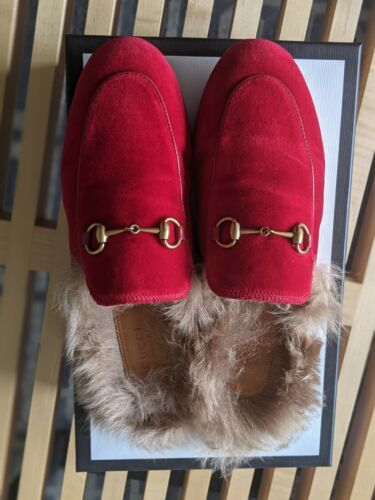 Gucci Red Suede Princeton Loafers With Fur 38