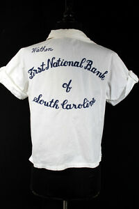 VINTAGE-1950-039-S-WHITE-EMBROIDERED-COTTON-BOWLING-SHIRT-BLOUSE-034-LUCILLE-034-SIZE-34