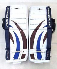 "New Powertek Barikad Jr goalie leg pads blue/purple 26"" junior ice hockey goal"
