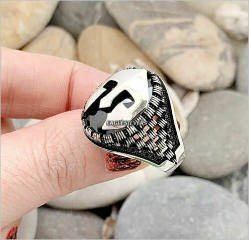 925 sterling silver Spartan helmet Roman Gladiator Black stone Men/'s Woman Ring