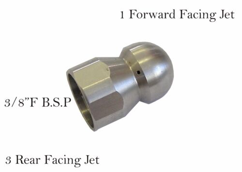 "Pressure Washer Jet Wash Drain Cleaning Nozzle 3//8/""F BSP 1 Forward 3 Rear 065"