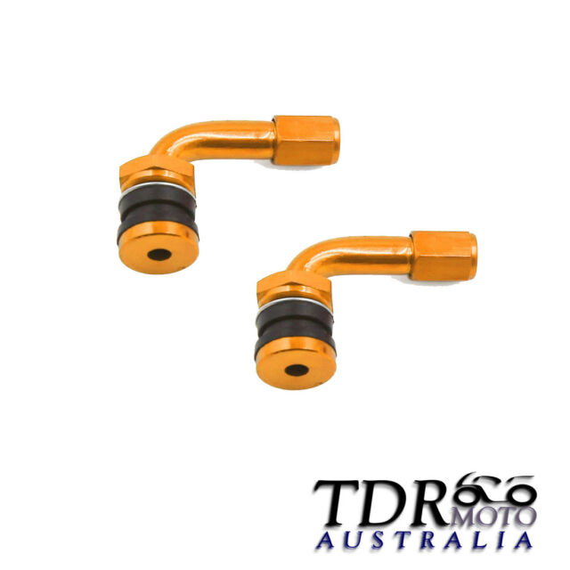 GOLD 2x Car Motorcycle Caravan Tyre Valve Extension Adaptor 90 Degree Aluminium