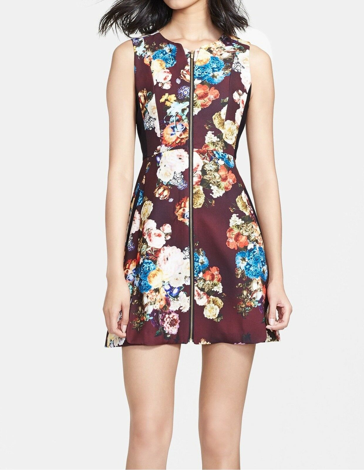 New-Size 8-McGinn-Women Emily Zip Front Print Fit & Flare Dress-Floral Burgundy