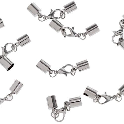 13pcs Stainless Steel Leather Cord Necklace Bracelet End Cap Barrel Clasp